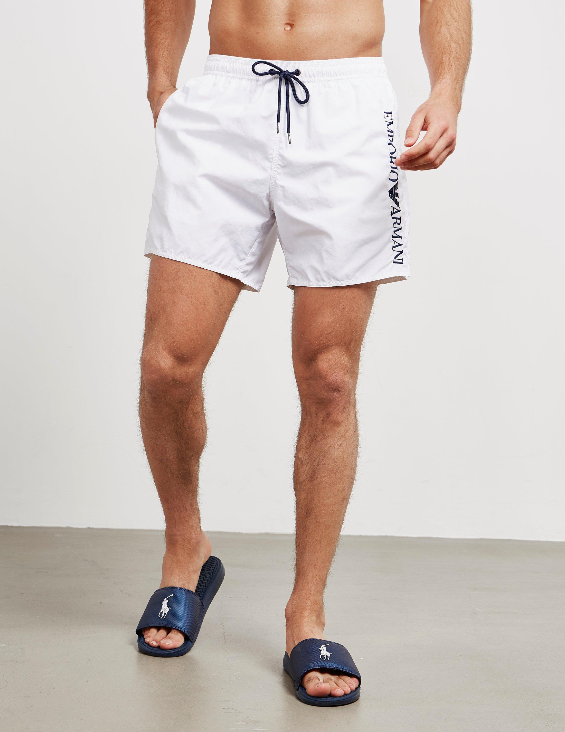 1d80fdb7a3 Lyst - Emporio Armani Logo Swim Shorts White in White for Men