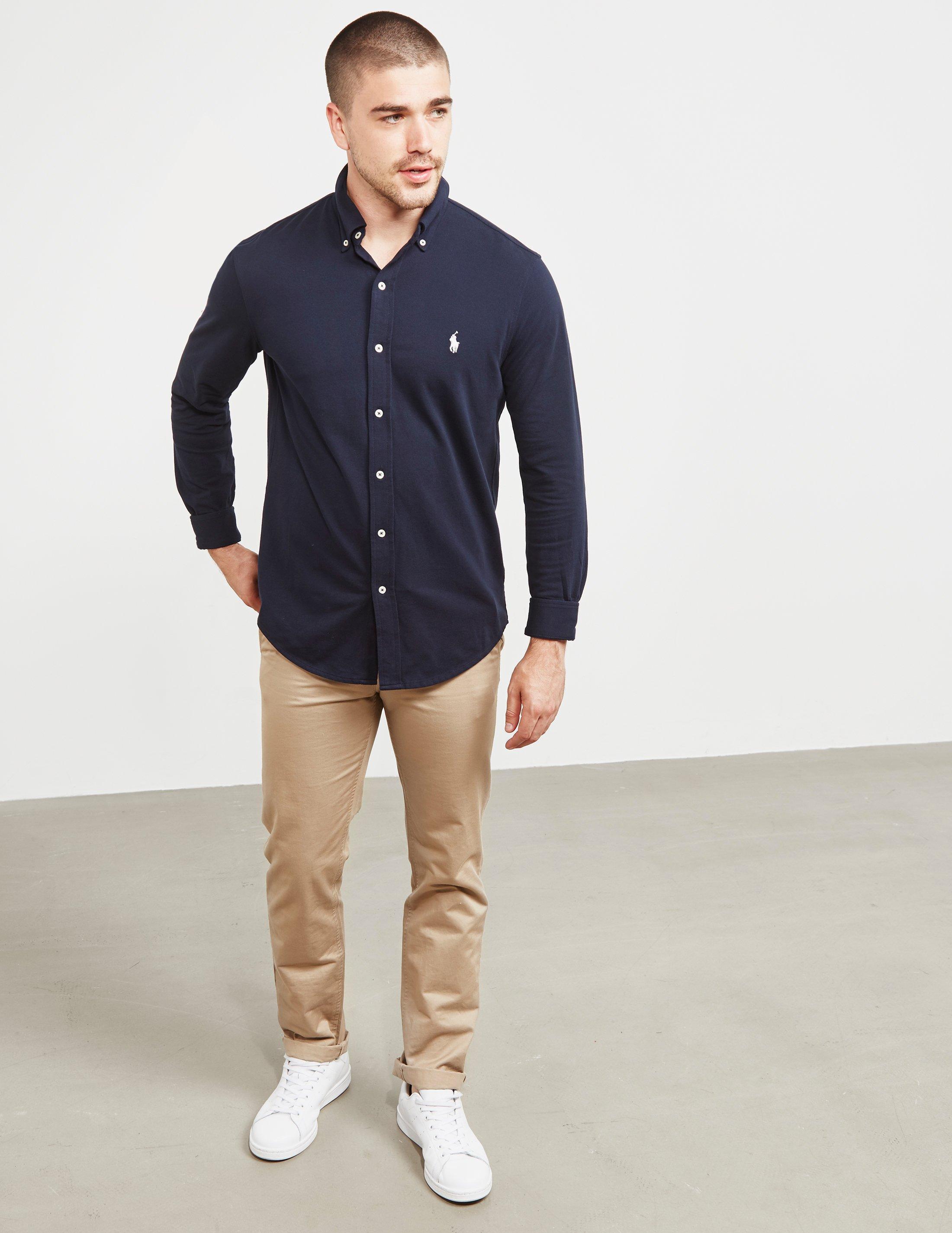 9e0d94a39c883 ... usa polo ralph lauren mens mesh long sleeve shirt navy blue in blue for men  lyst