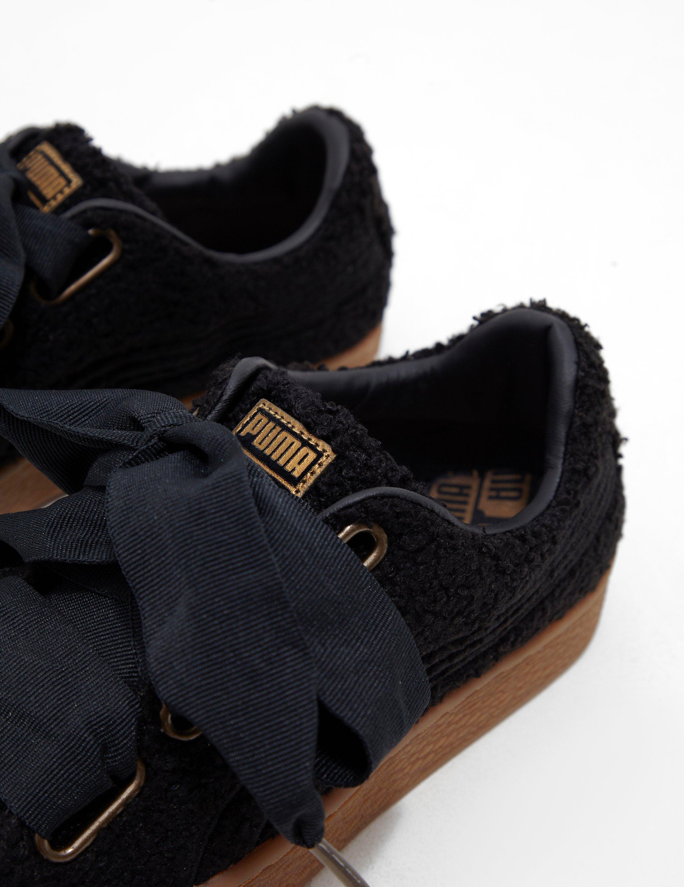 b27725e93551 PUMA Basket Heart Teddy  s Sneakers in Black - Lyst