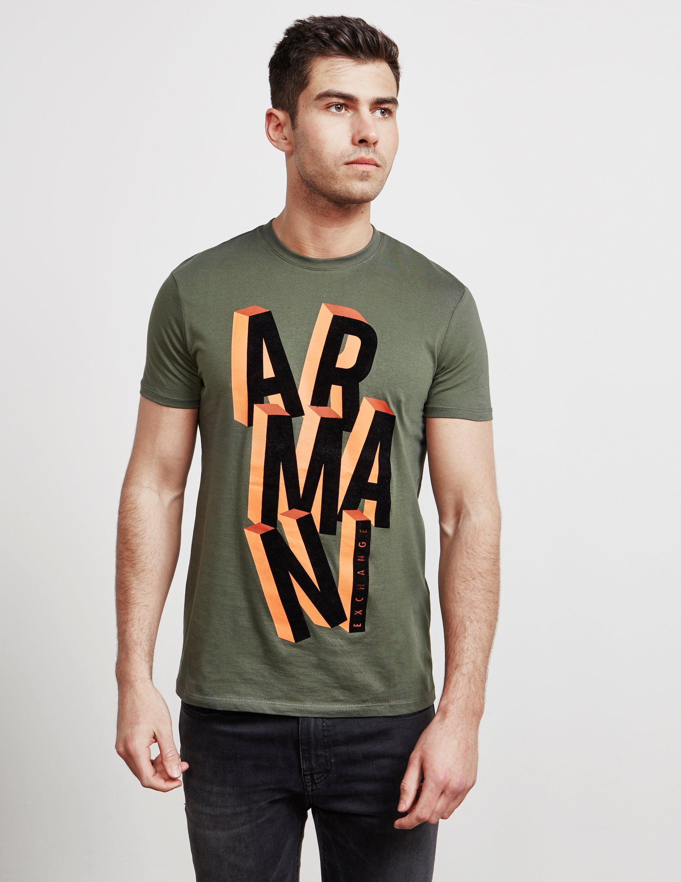 116e99a4 Lyst - Armani Exchange Block Letter Short Sleeve T-shirt Green in ...