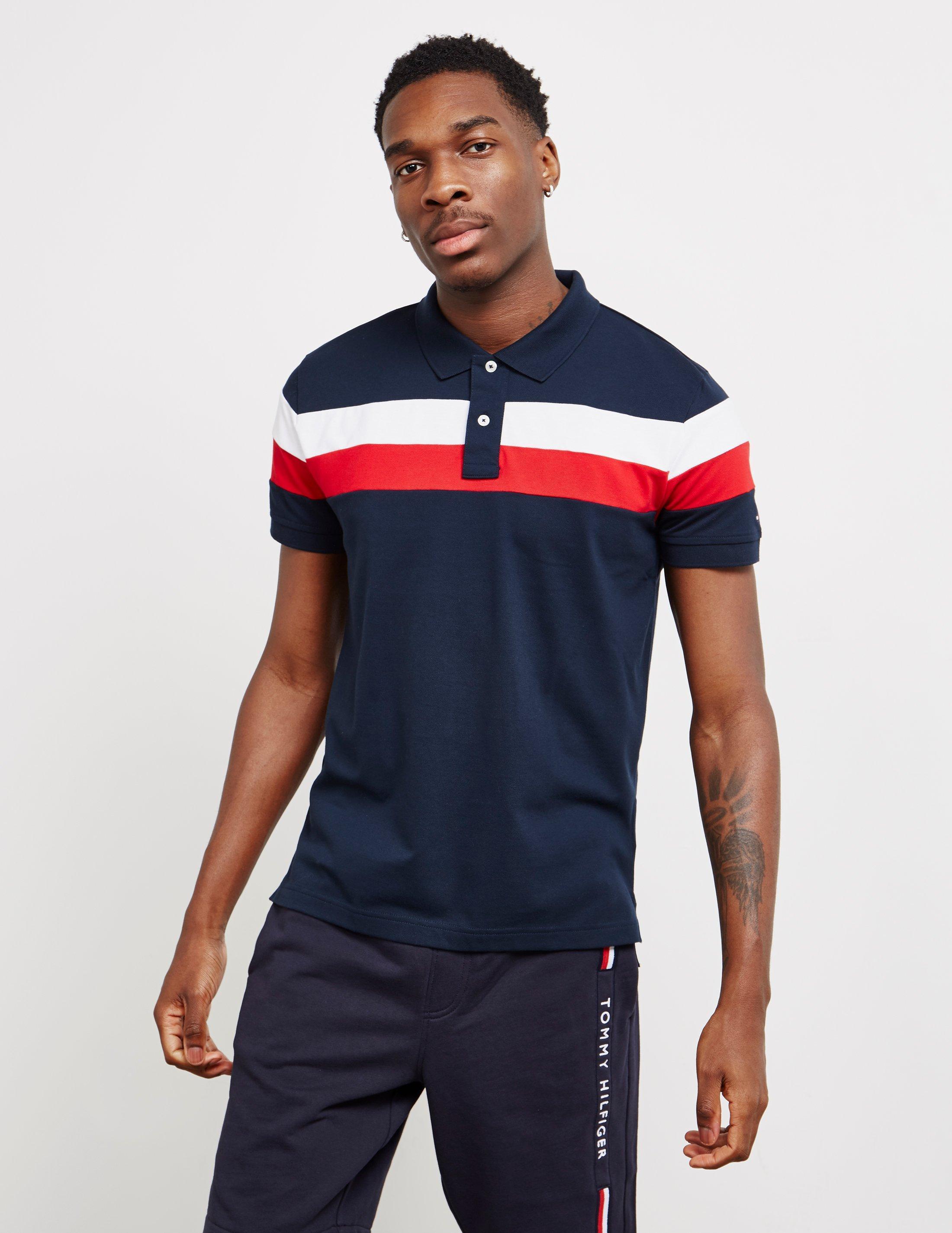 0de4c92ca4b726 Tommy Hilfiger - Mens Chest Stripe Short Sleeve Polo Shirt Navy Blue for Men  - Lyst. View fullscreen