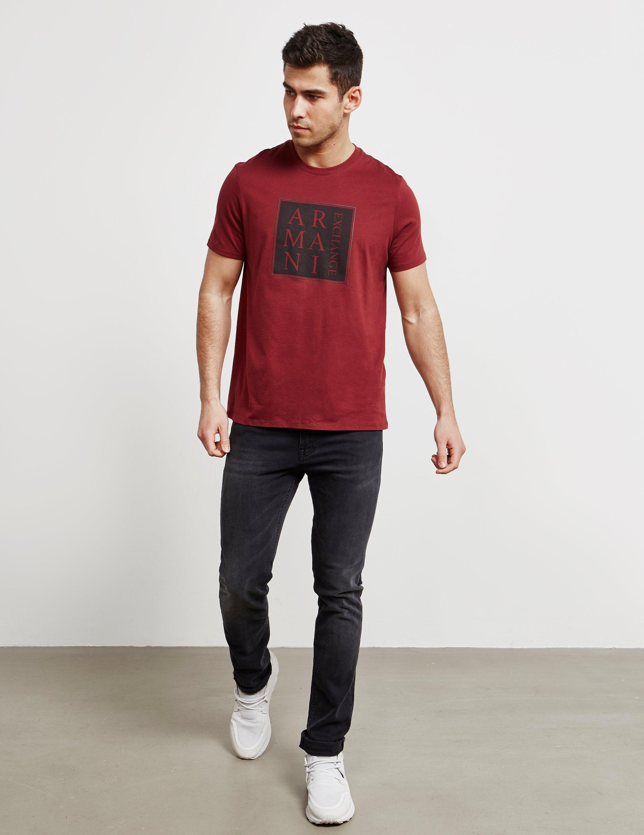8c2cbf1a73 Lyst - Armani Exchange Mens Square Box Short Sleeve T-shirt Red in Red for  Men