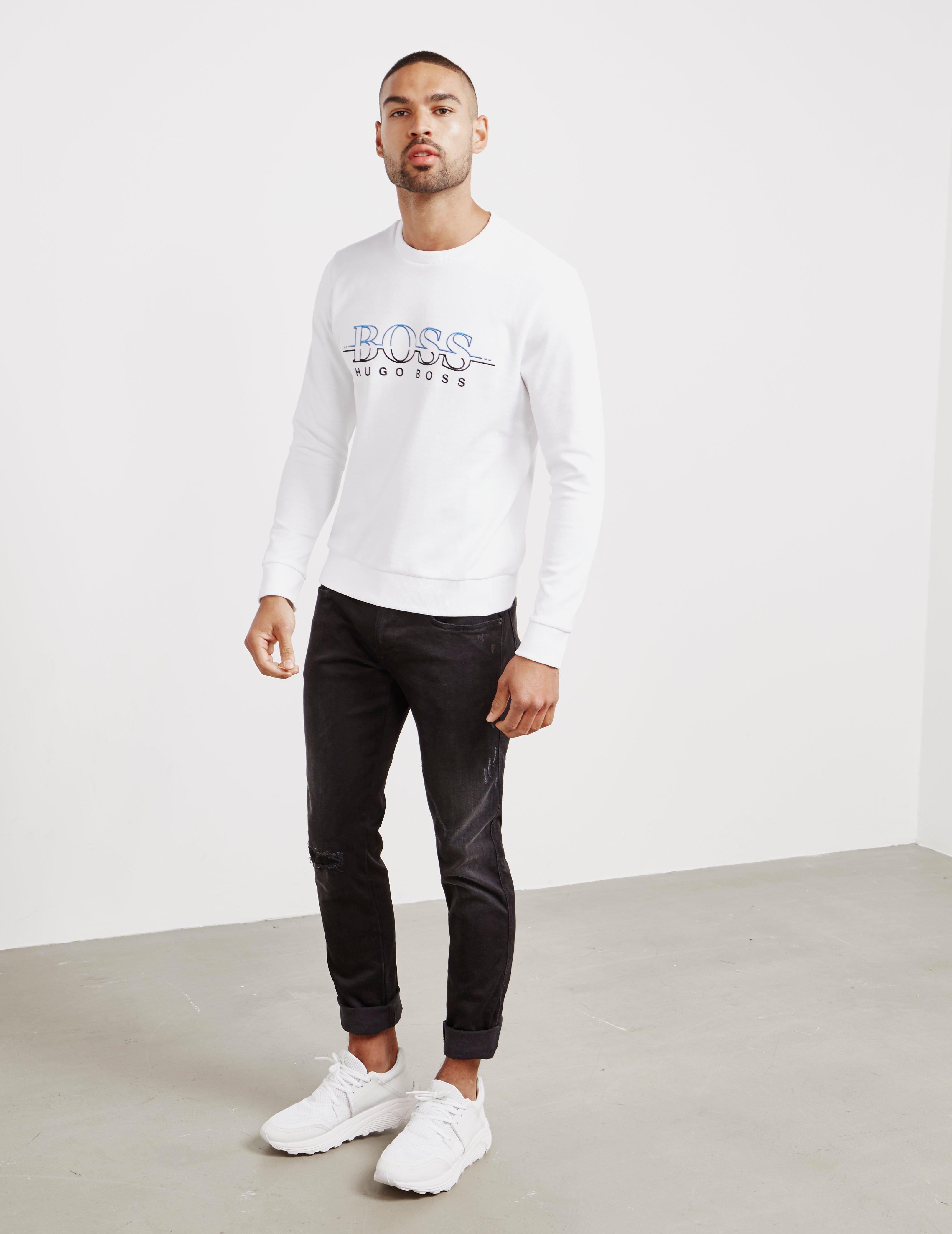 823c40cd2 BOSS Salbo Crew Neck Sweatshirt White in White for Men - Save 51% - Lyst