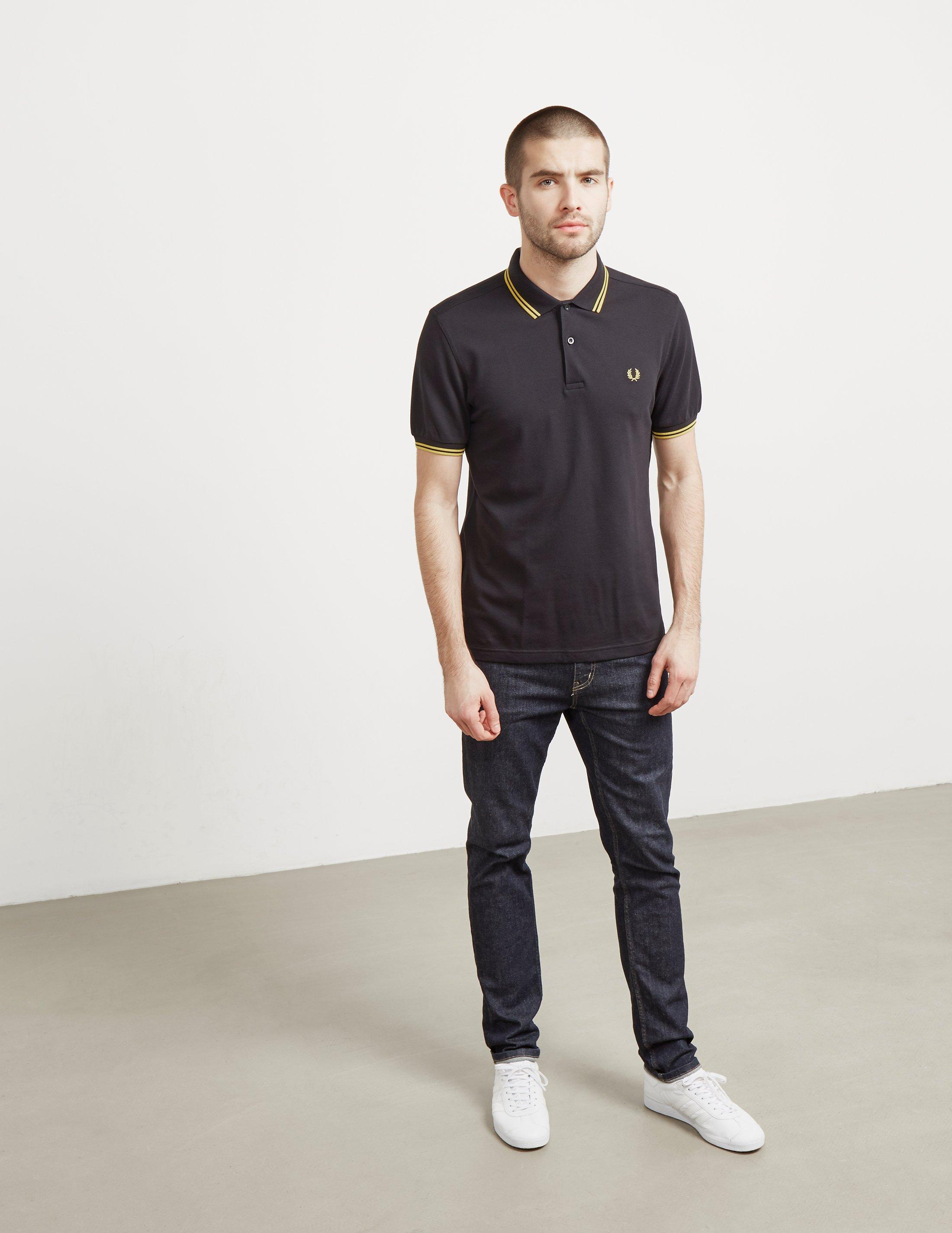 2a910c97 Fred Perry Slim Twin Tipped Short Sleeve Polo Shirt Black in Black for Men  - Save 15% - Lyst