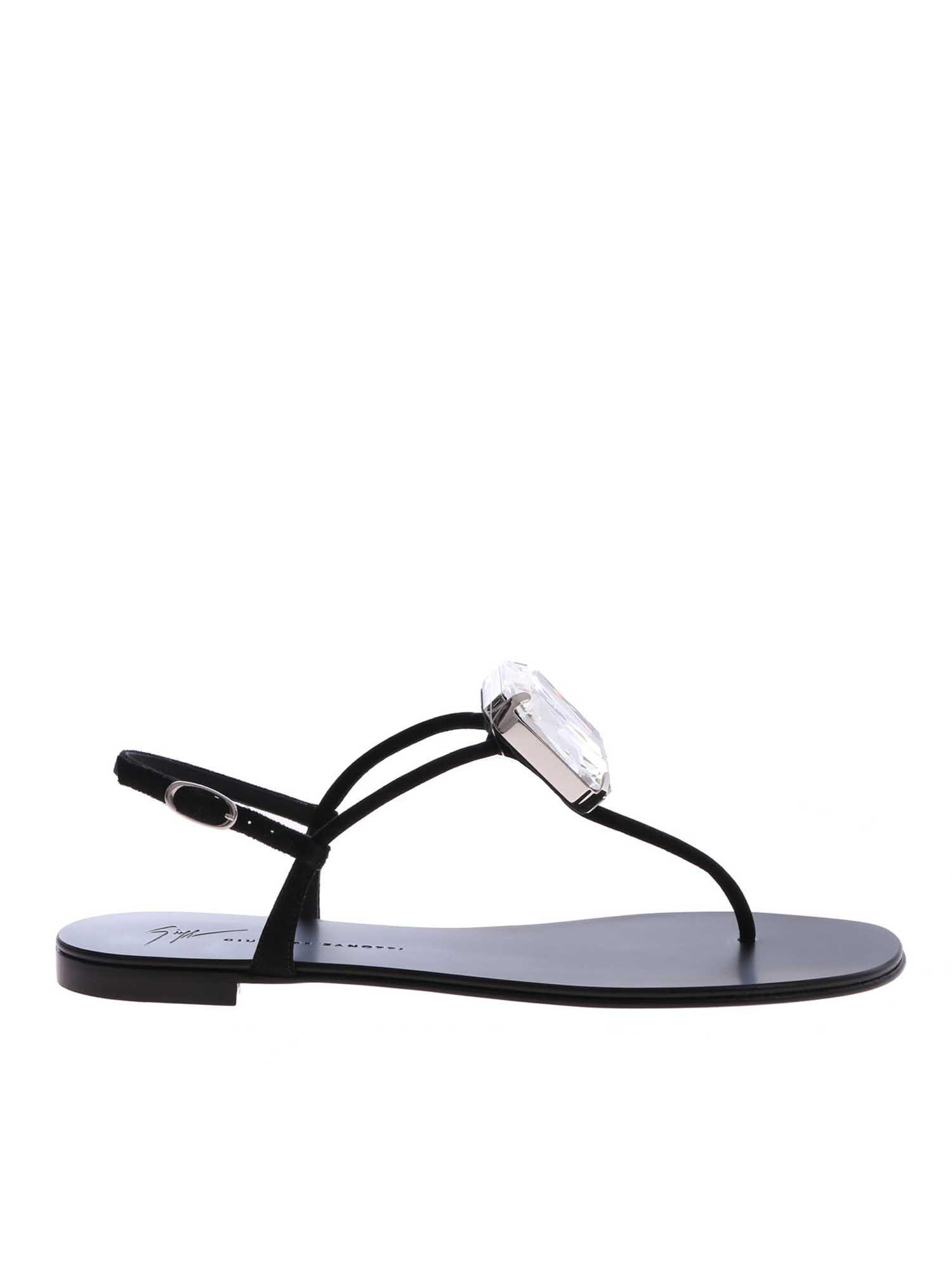 8a6446e01 Giuseppe Zanotti - Black Thong Sandals With Rhinestones - Lyst. View  fullscreen