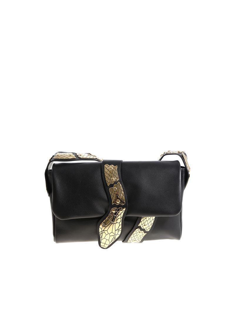 Red Valentino Black shoulder bag with golden snake jO4OGExrrE