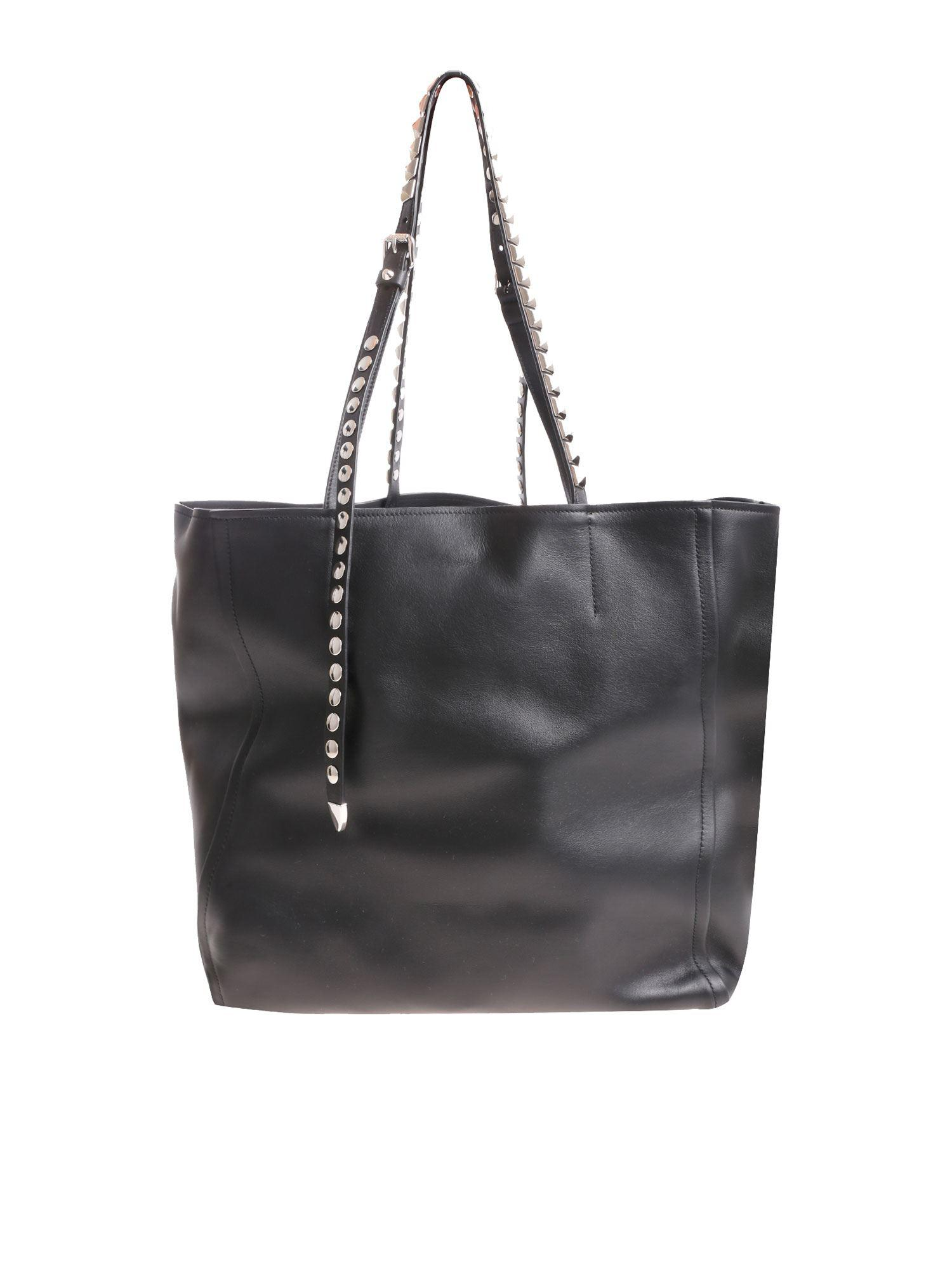 0367b4259404 Prada Black Shoulder Bag With Studs in Black - Lyst