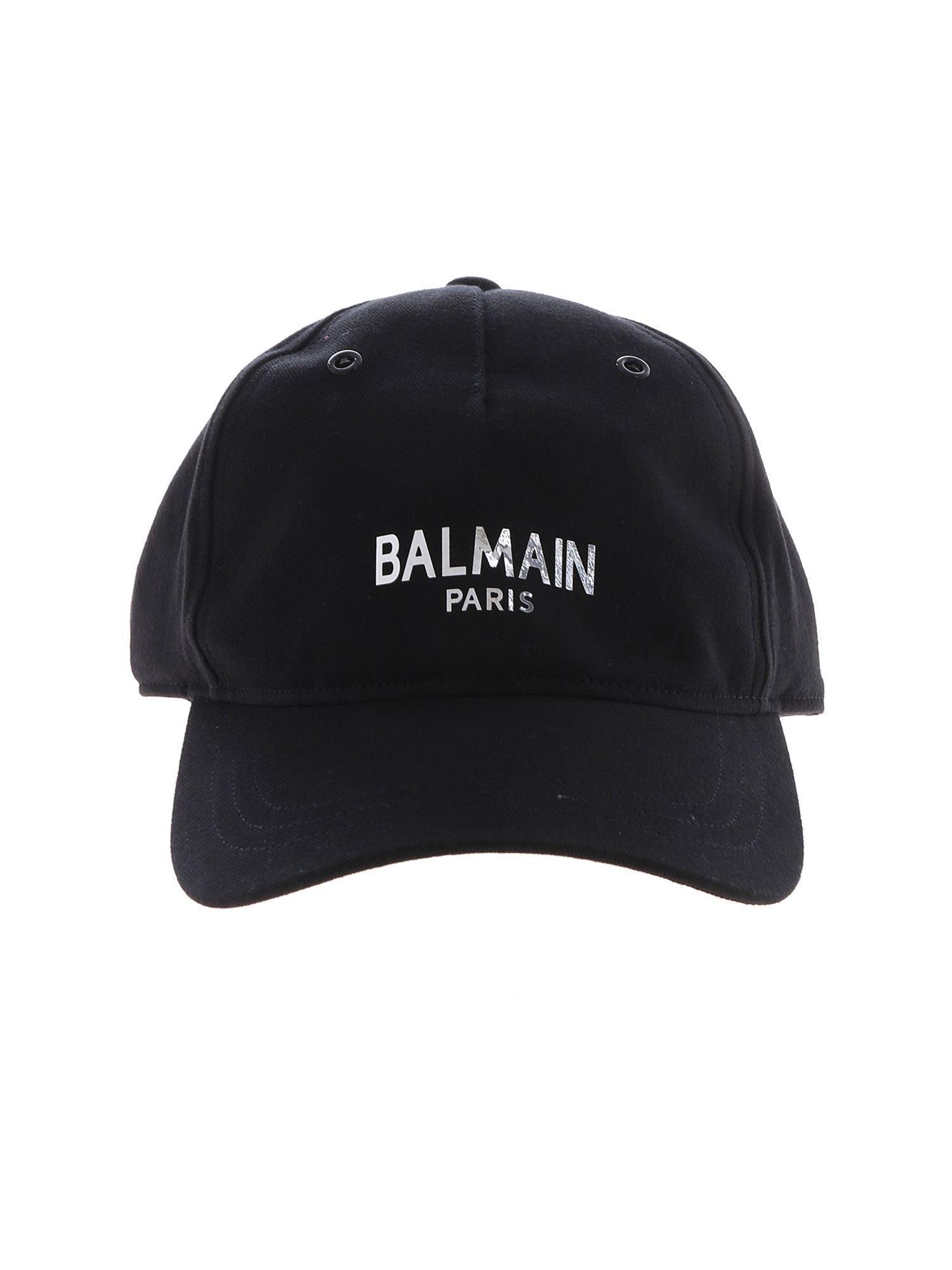c9ed22b6 Lyst - Balmain Black Cap With Silver Logo Print in Black for Men ...
