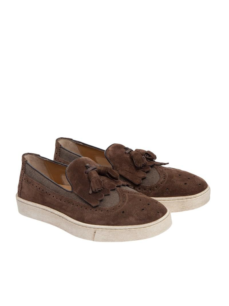 12eea2637e4 Lyst - Santoni Suede And Fabric Shoes in Brown for Men