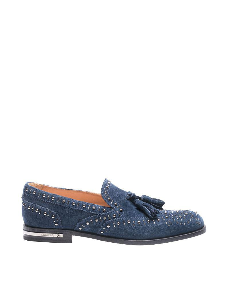 Blue suede studded loafer Churchs xesK73