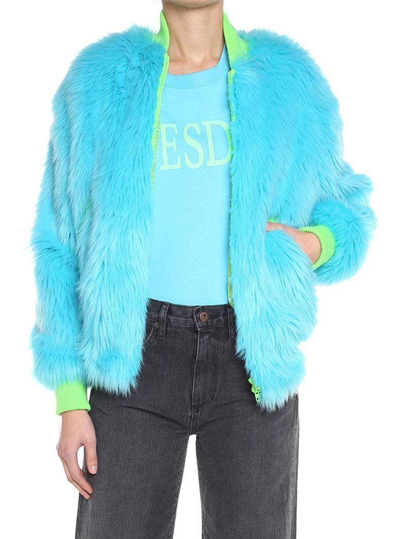 Light blue eco-fur bomber Alberta Ferretti Clearance Low Price 9a8xZ2I9