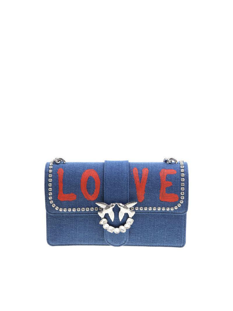 Pinko Blue Love Jeans bag with rhinestones ndxec8g