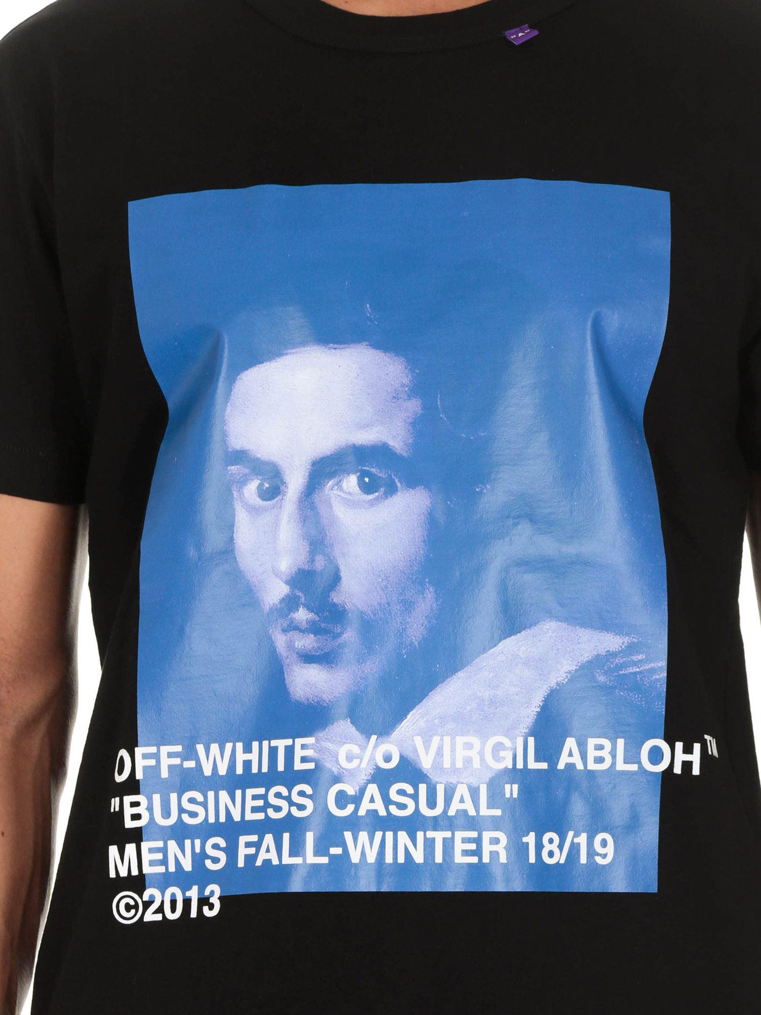 0d8d895d ... Virgil Abloh - White Bernini Asymmetric black T. View fullscreen