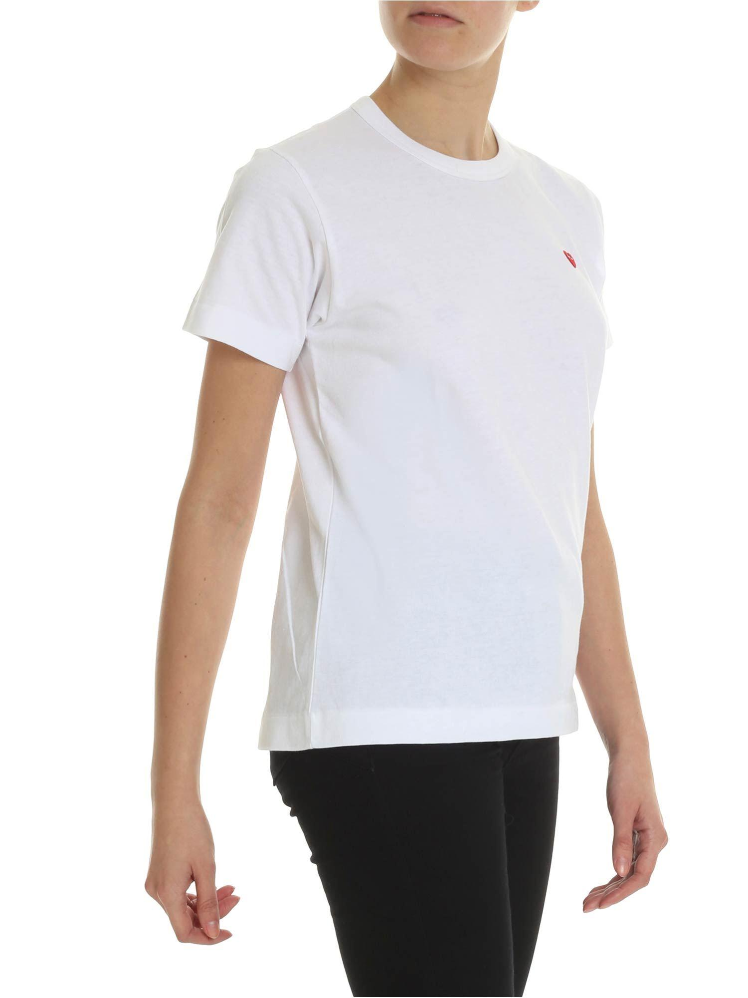 72496eca63421c Lyst - COMME DES GARÇONS PLAY White T-shirt With Red Heart in White