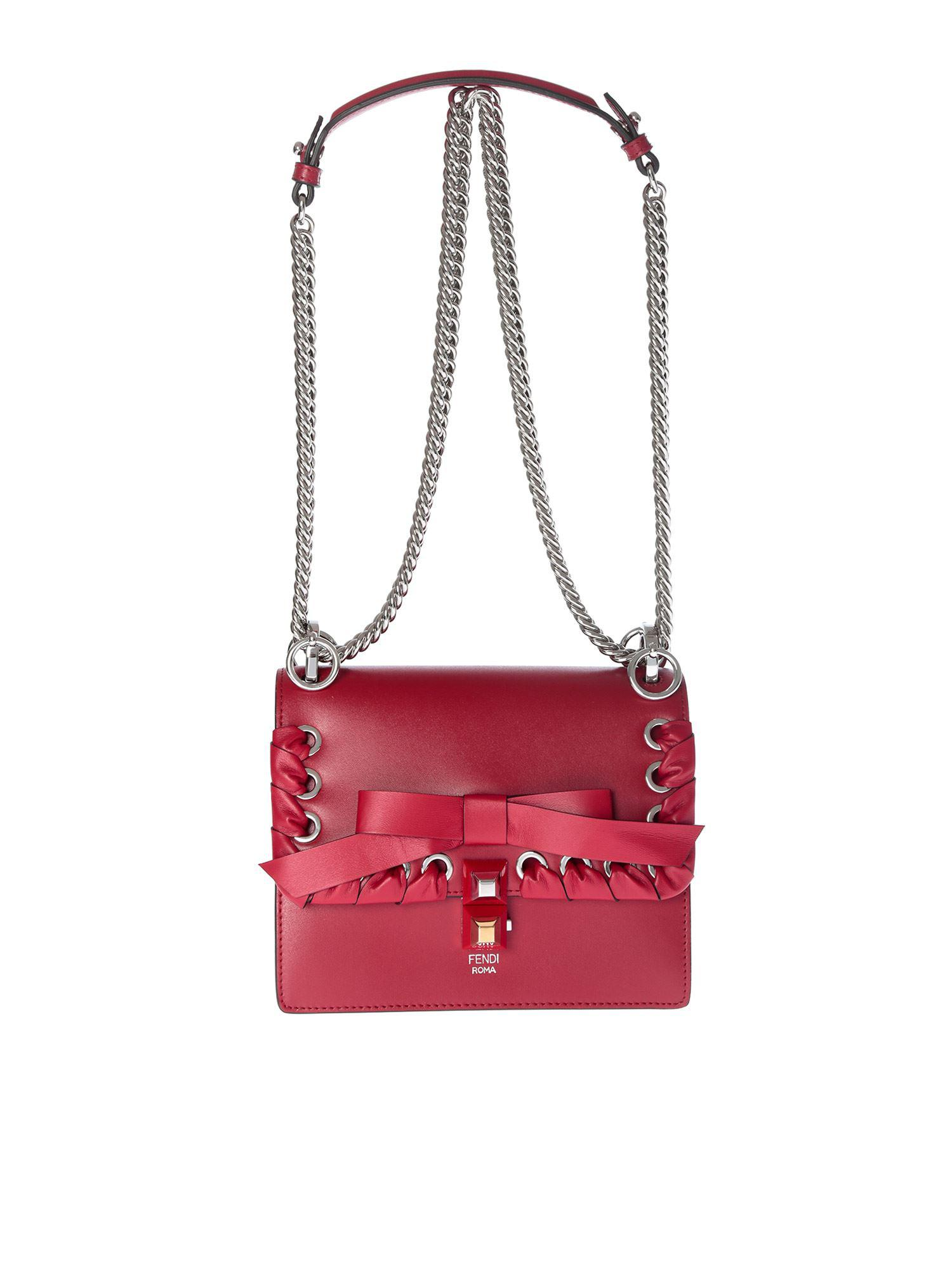 e92ca4db03 Fendi Red Kan I Small Bag With Ribbon in Red - Lyst