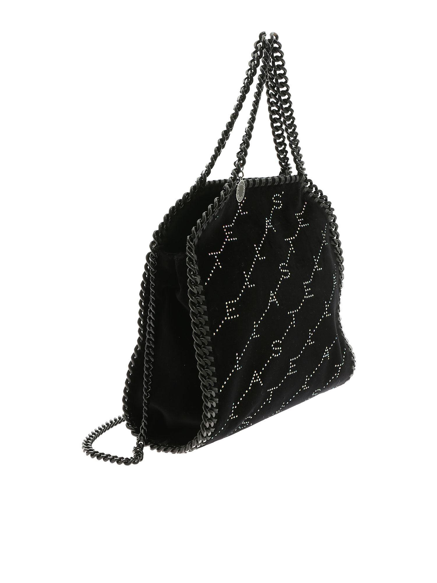 b92c88d0b2f6 Lyst - Stella Mccartney Falabella Mini Bag With Black Velvet Effect in Black