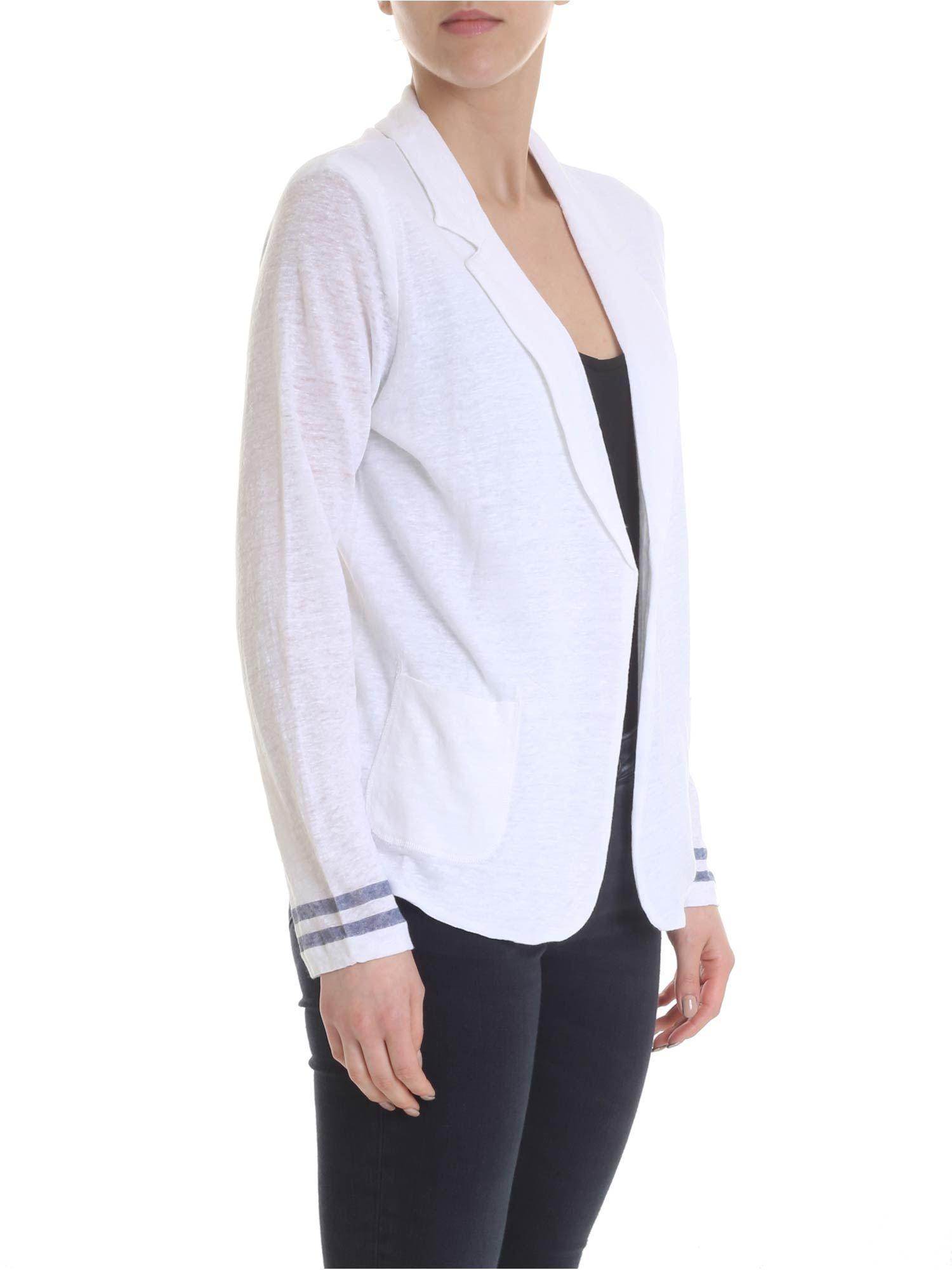 51c445618a Majestic Filatures White Linen Cardigan With Classic Lapels in White - Lyst