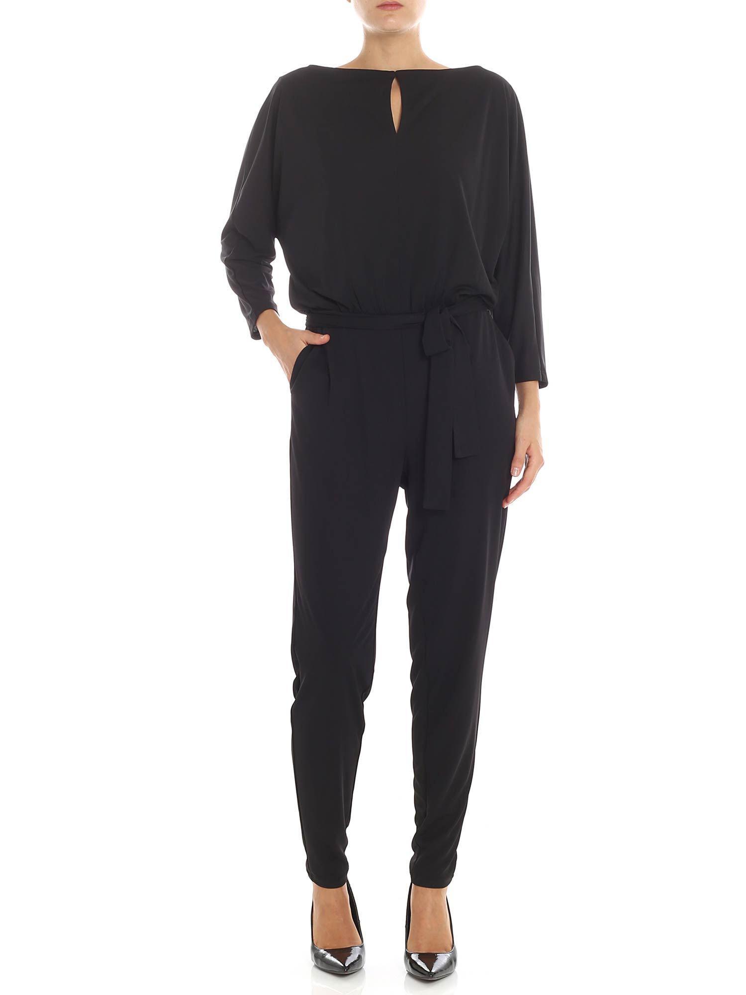 f0382a62066 Lyst - Lauren by Ralph Lauren Black Long Slevees Jumpsuit in Black