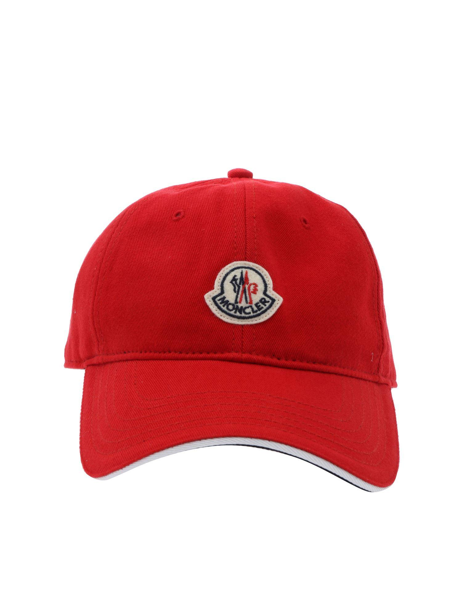 200004c017e Moncler Logo Patch Cap in Red for Men - Save 13% - Lyst
