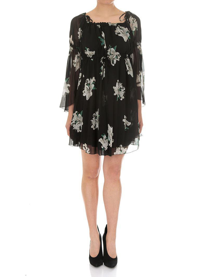 Short black dress with floral print Dondup 5sFDrAUTmK