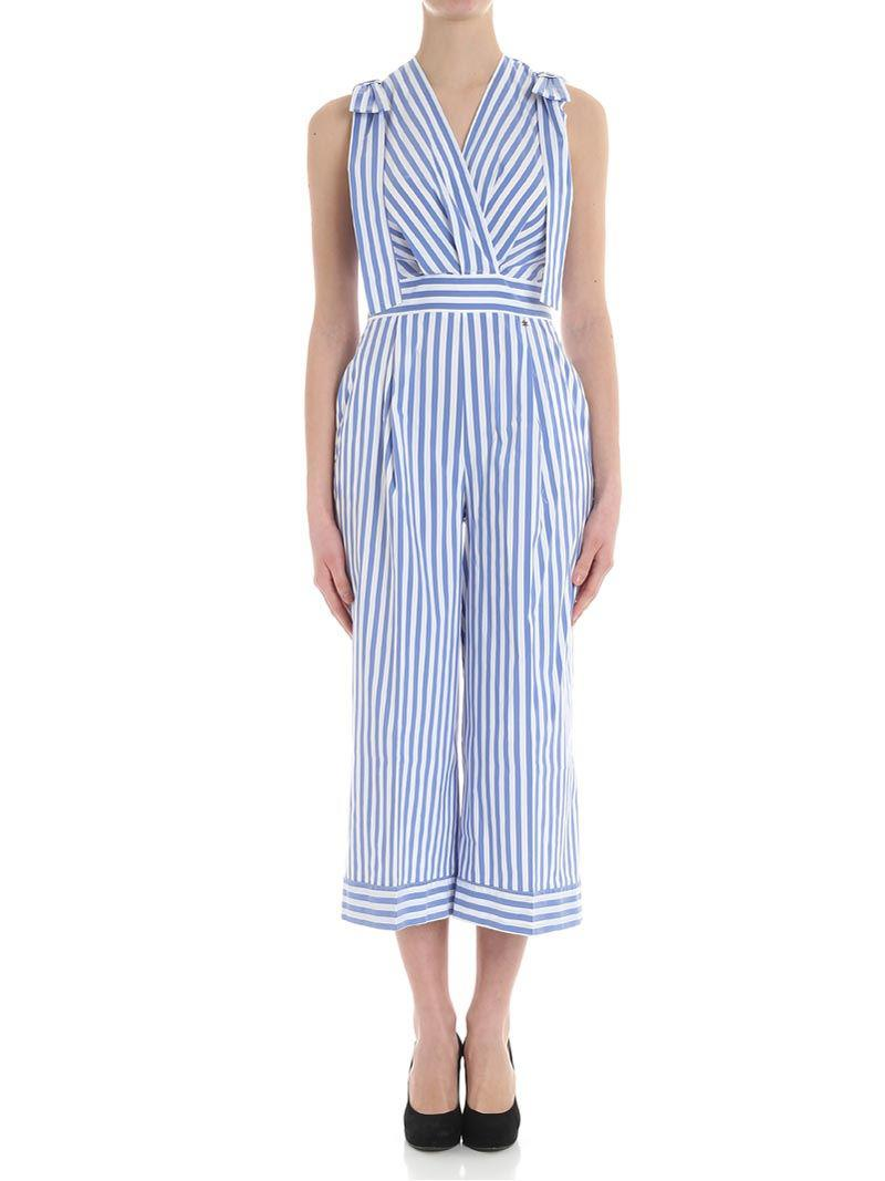 80e49303ab25 Elisabetta Franchi White And Light-blue Striped Jumpsuit in White - Lyst
