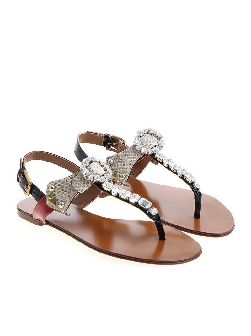 75920225b Dolce   Gabbana - Multicolor Sandals With Rhinestones - Lyst