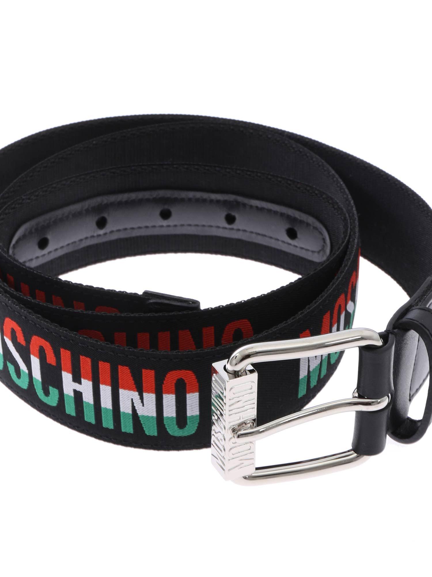 c6380d55cf Moschino Canvas Belt Italian Logo in Black for Men - Lyst