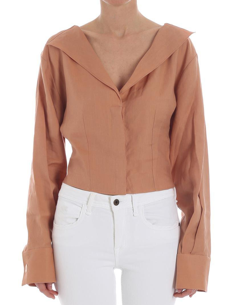 Brown crop shirt Jacquemus Buy Online With Paypal Clearance Inexpensive t2f4zE0J