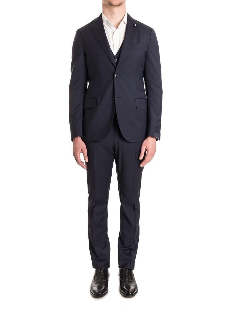 Lardini. Men's Blue Wool Suit