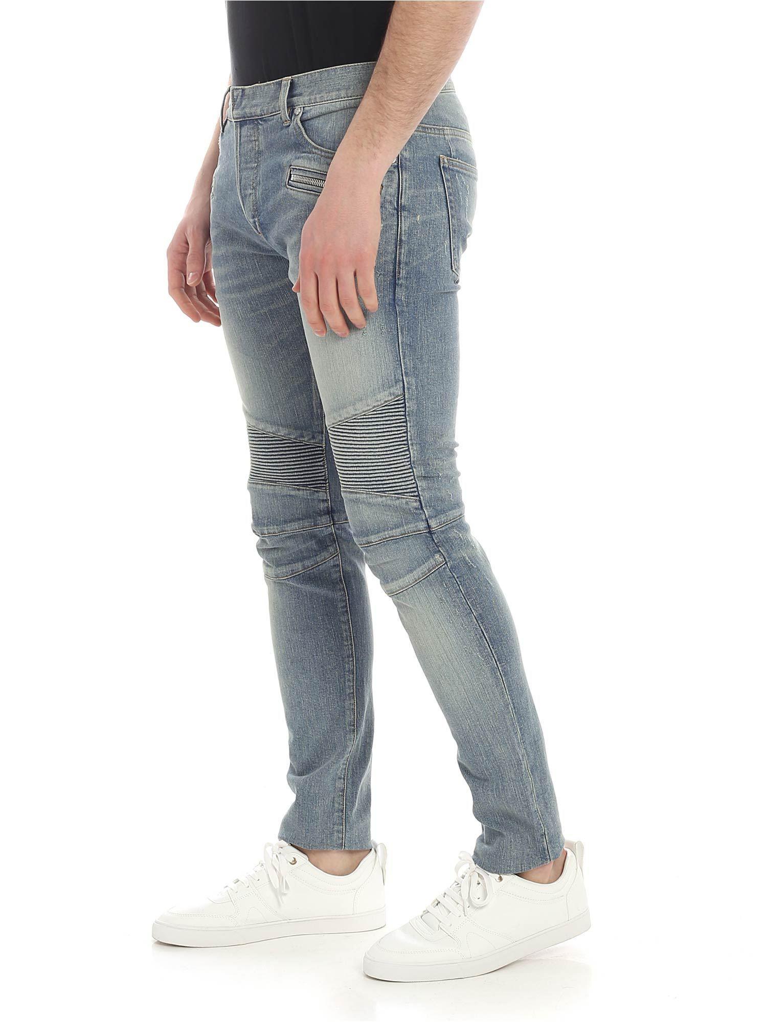 504d20b3 Balmain Slim Fit Biker Jeans in Blue for Men - Lyst