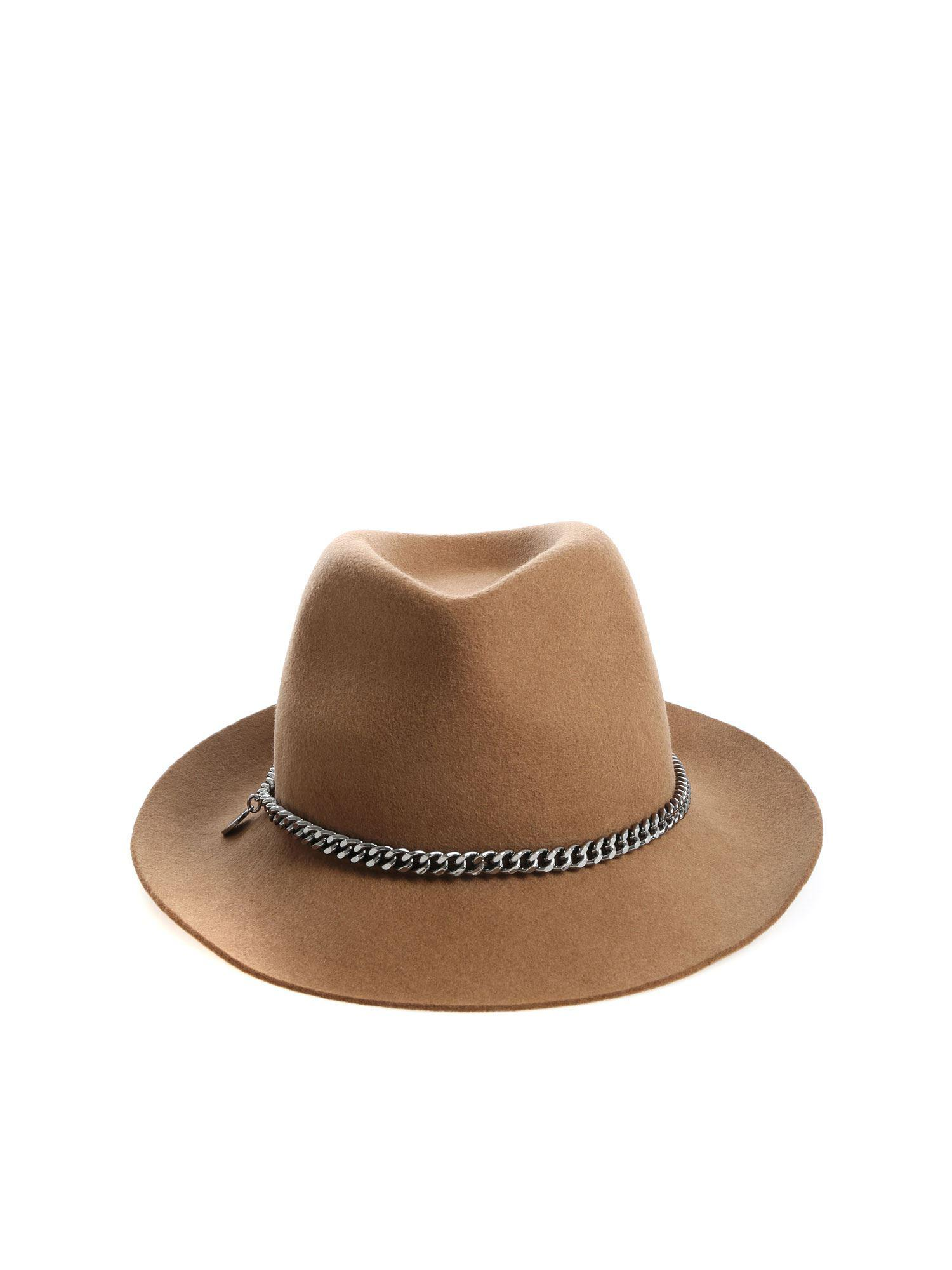 60f03e049ab Stella McCartney Brown Hat With Chain in Brown - Lyst