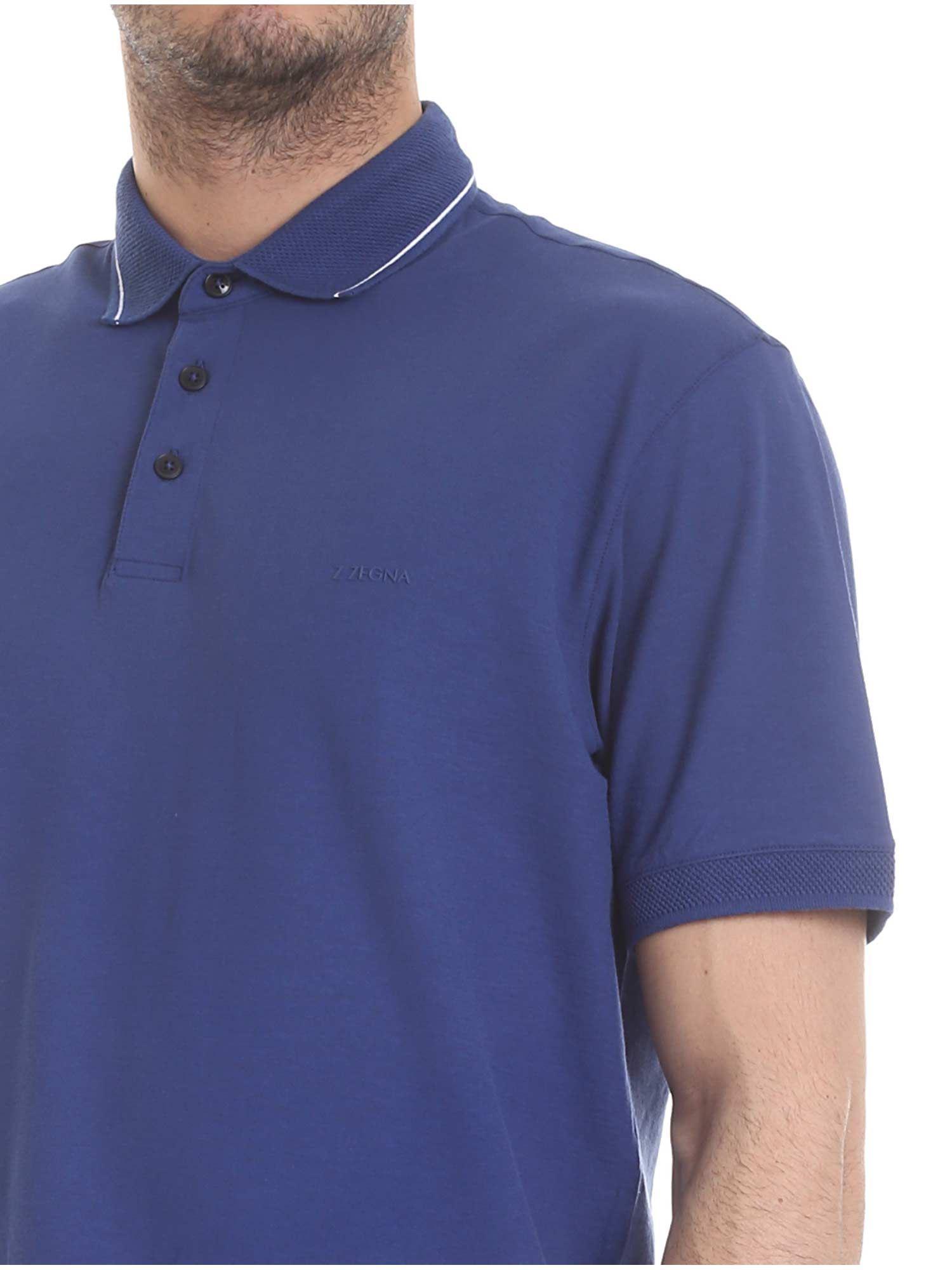 9596d0b50 Z Zegna - Blue Polo Shirt With White Stripes for Men - Lyst. View fullscreen