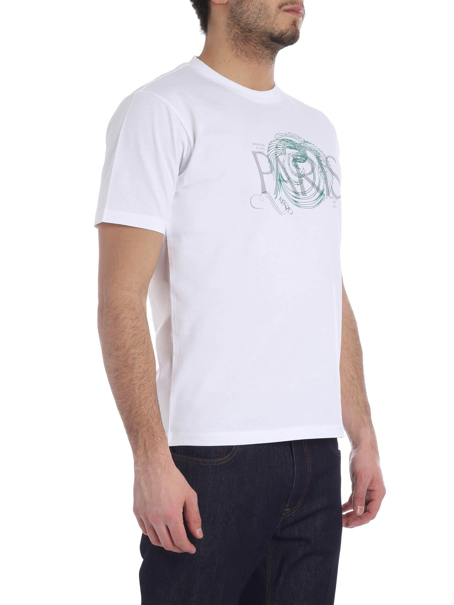 6770e9a66 Lyst - KENZO White And Green Paris T-shirt in White for Men
