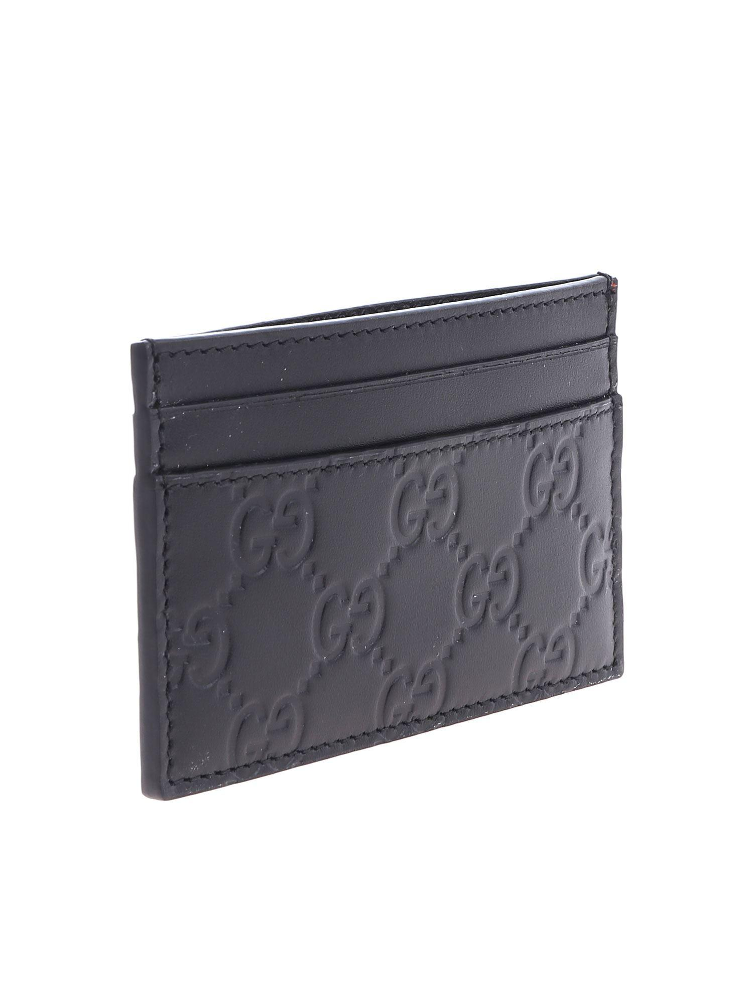 d8ff8753b3a7 Gucci Black Card Slots With Embossed Logo in Black for Men - Lyst