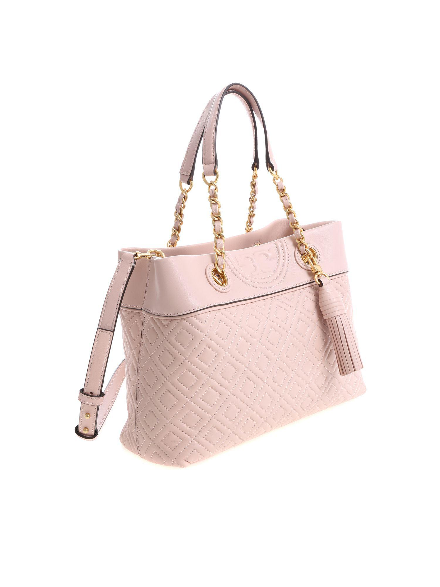 c96fa640a09 Lyst Tory Burch Pink Fleming Small Tote Bag In. Fleming Small Quilted  Leather ...