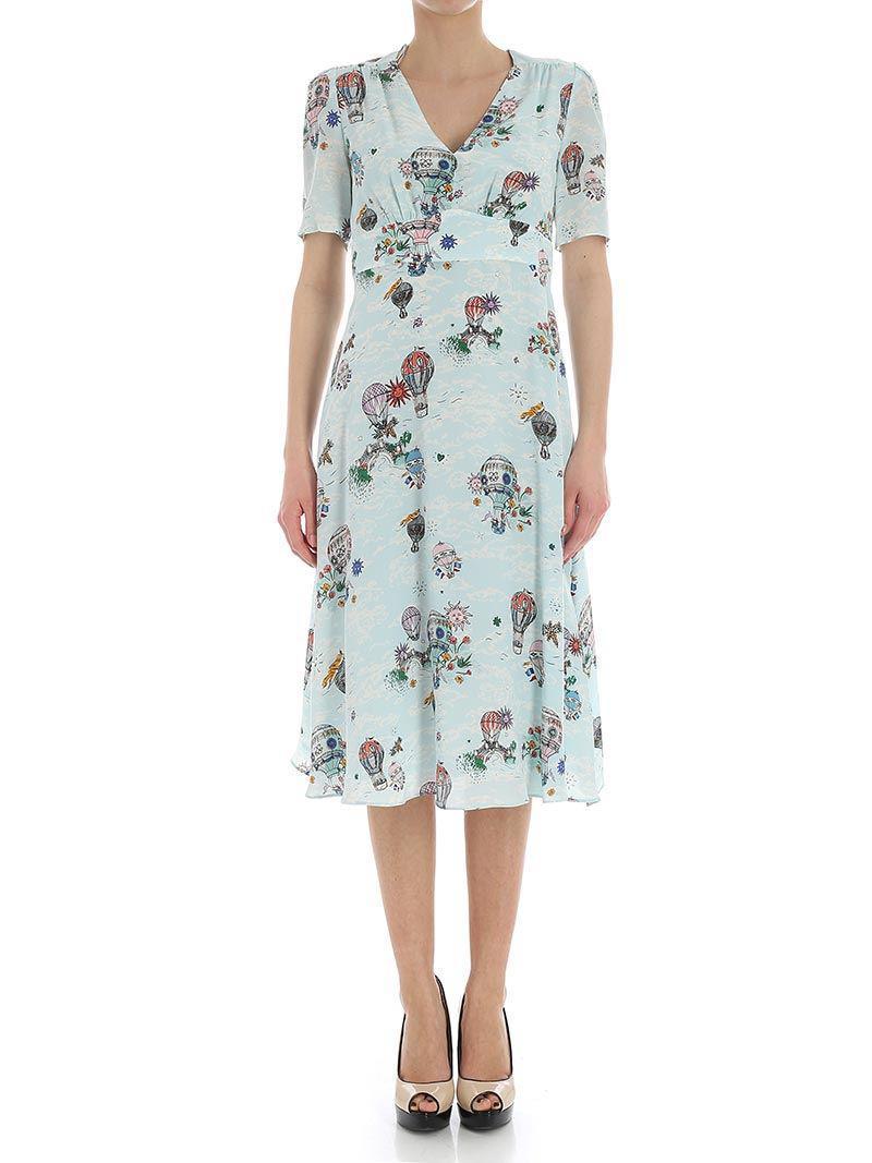 Light blue dress with hot air balloon print Tara Jarmon Visa Payment Cheap Price Geniue Stockist Online hMpiRKeZ