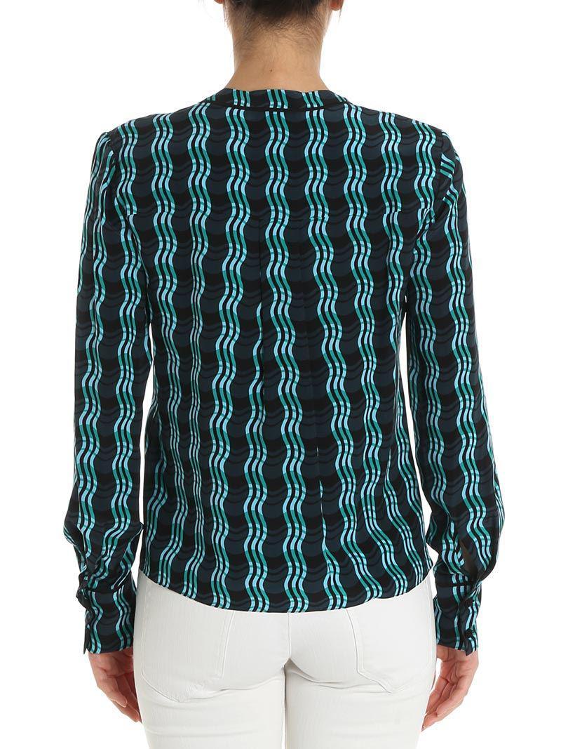 Excellent Online On Hot Sale Black wave patterned shirt Diane Von Fürstenberg Cheap Sale Browse XracFitq