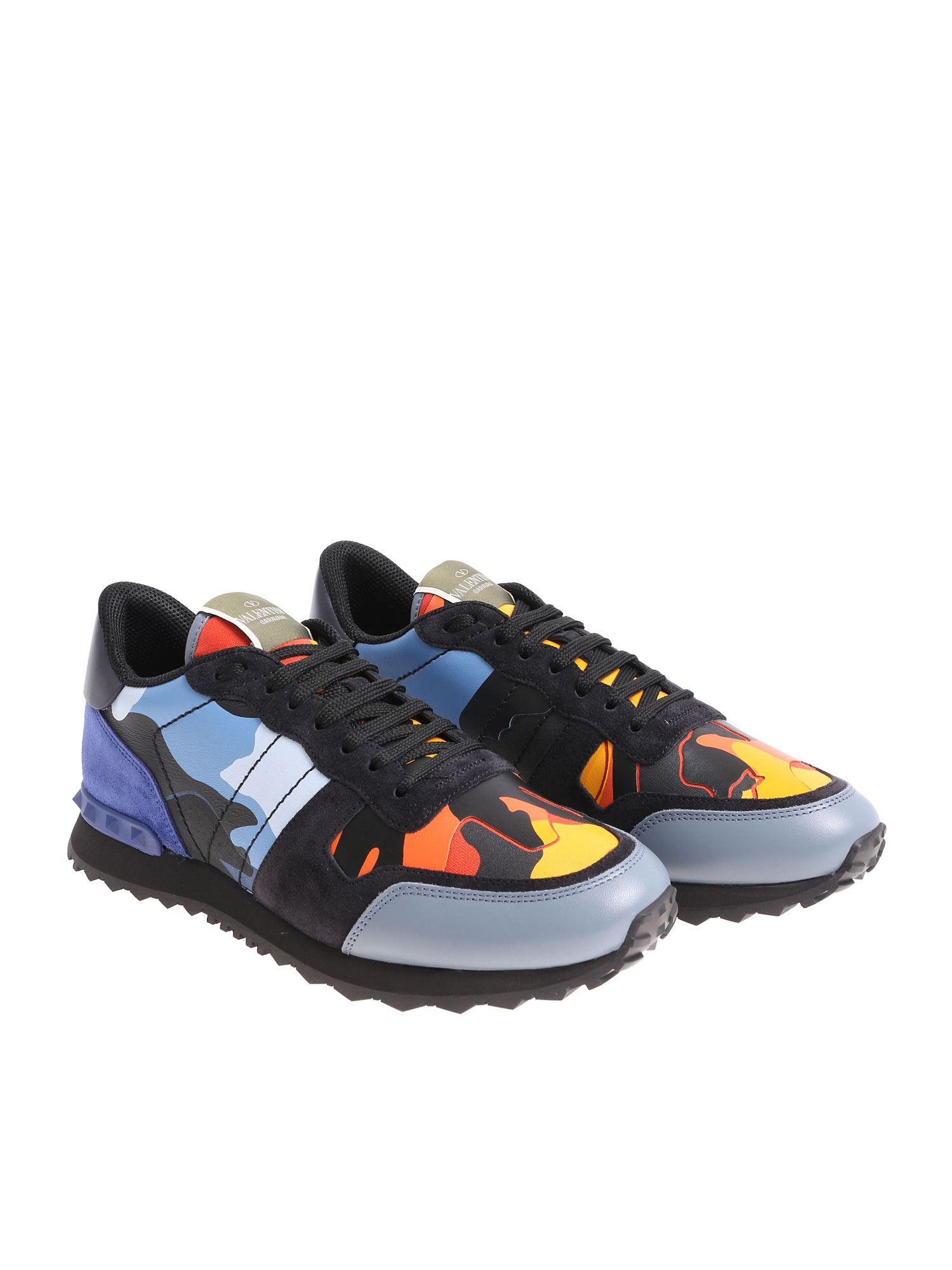 e7ed53df094fd Valentino Rockrunner Camouflage Sneakers in Blue for Men - Lyst