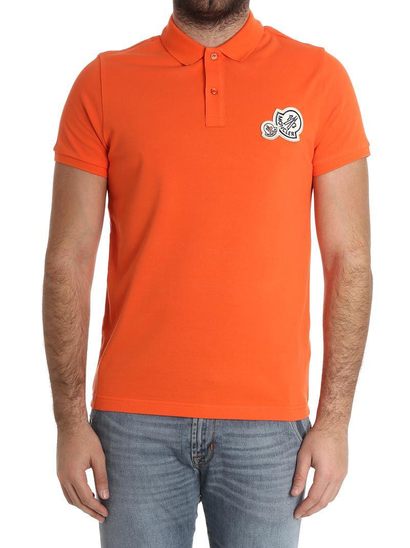 c8df657d891d Lyst - Moncler Polo With Logo On The Chest in Orange for Men