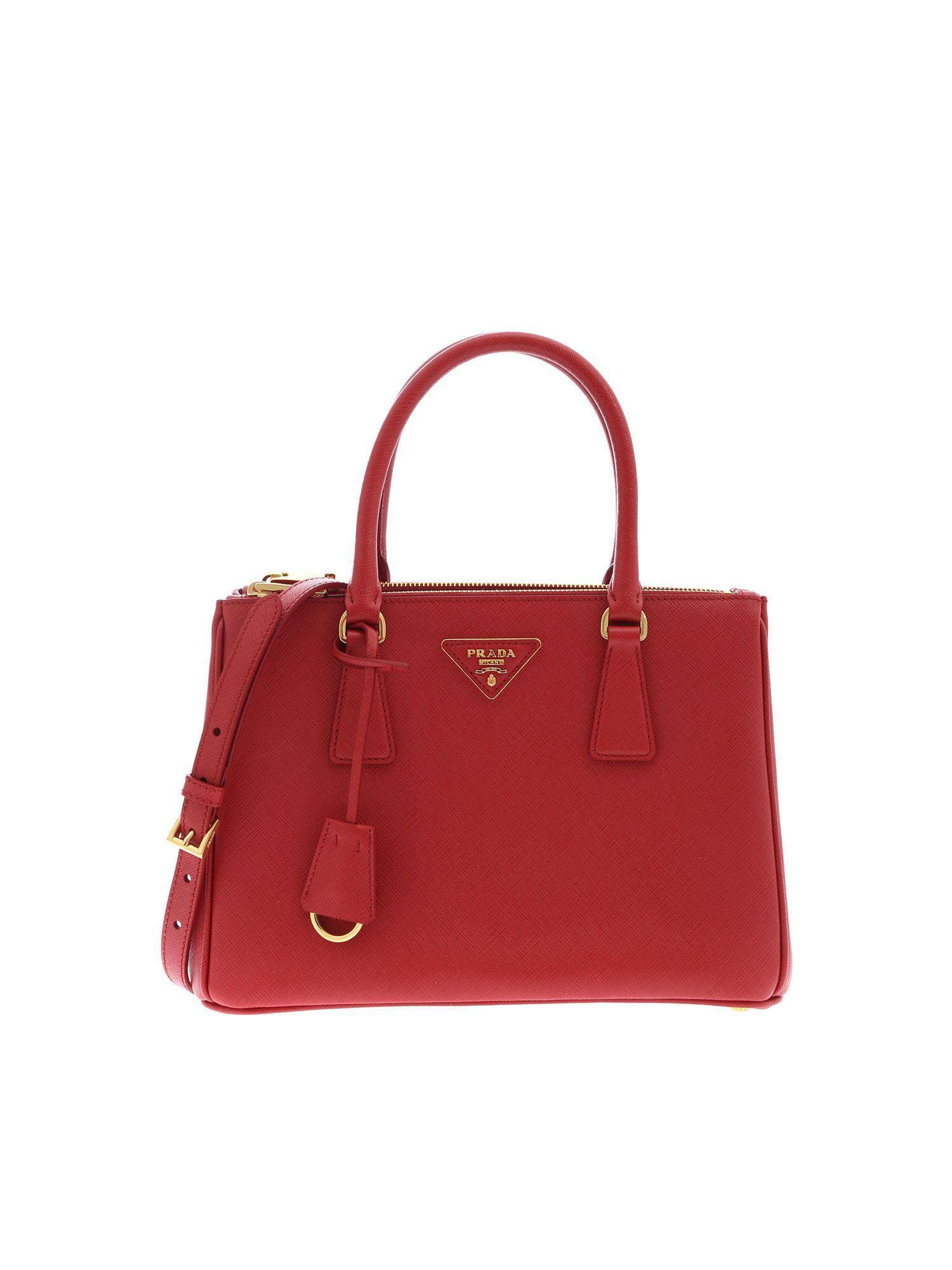 c2ed3d34d793de Prada - Galleria Small Crossbody Bag In Red - Lyst. View fullscreen