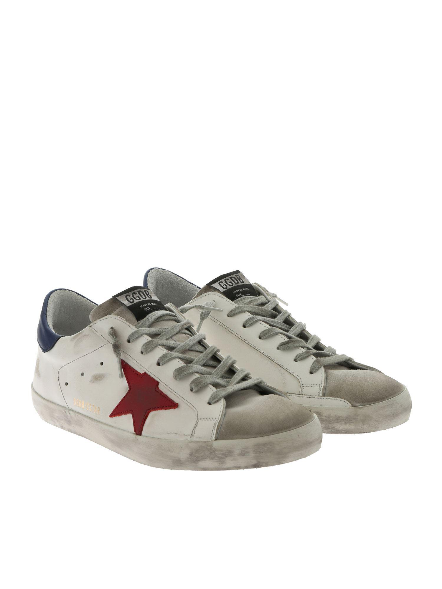 959110edf9ab9 Lyst - Golden Goose Deluxe Brand Superstar White Sneakers With Red Star in  White for Men