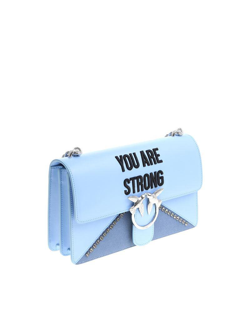 Pinko Light blue Love You Are Strong bag sKEts
