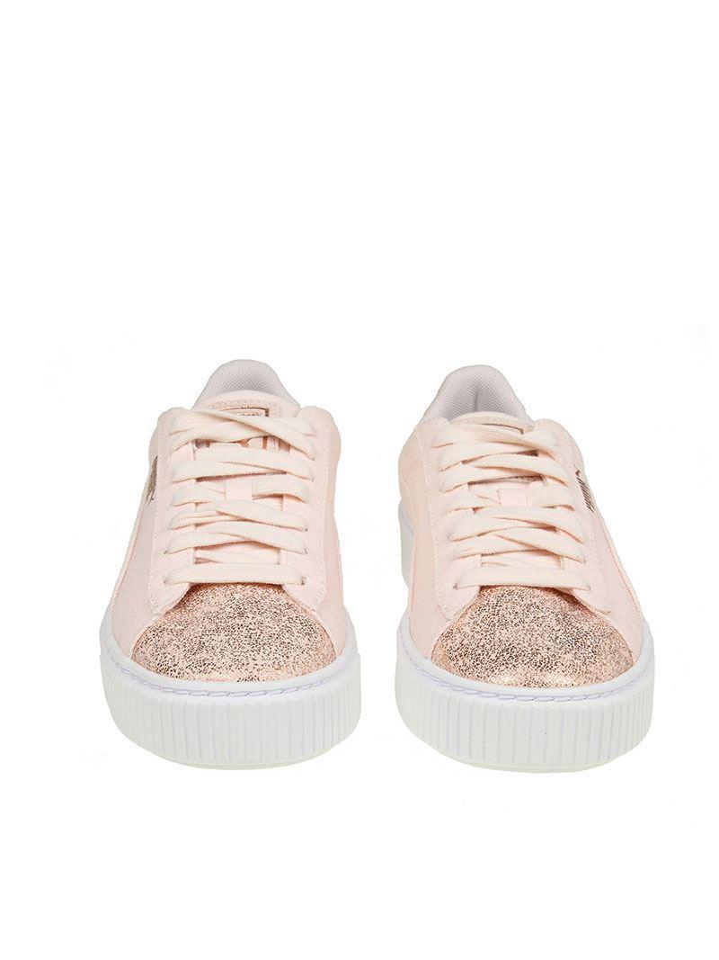 hot sale online 6d46c 3a519 PUMA - Pink Basket Platform Canvas Sneakers - Lyst