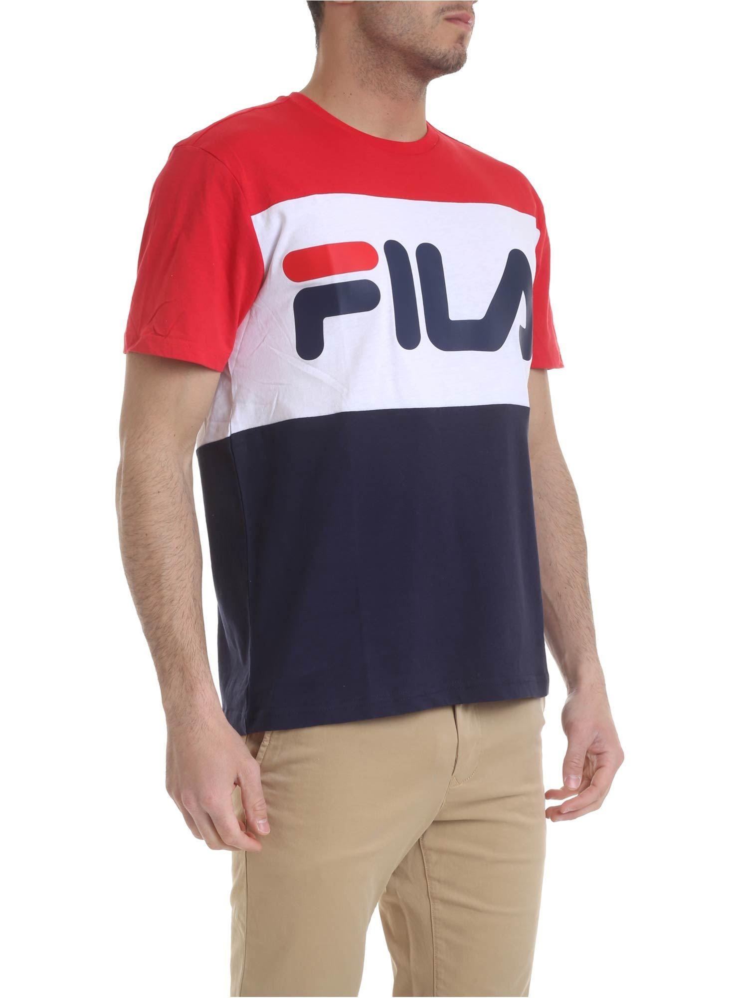 bb74dad6 Lyst Fila T Shirt In Blue Red And White In Blue For Men