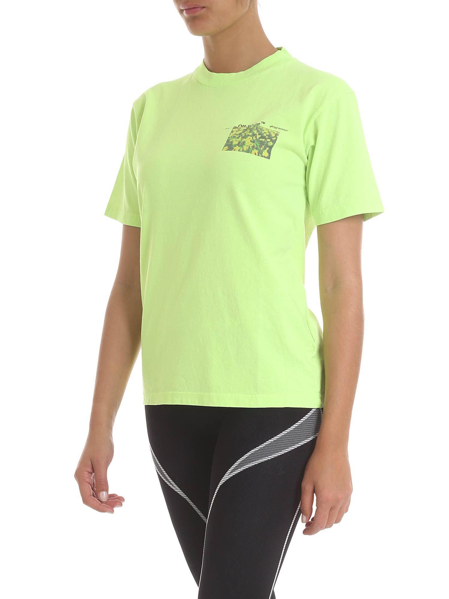 5600010b39f2 Lyst - Off-White c o Virgil Abloh Flowers T-shirt In Neon Green in White