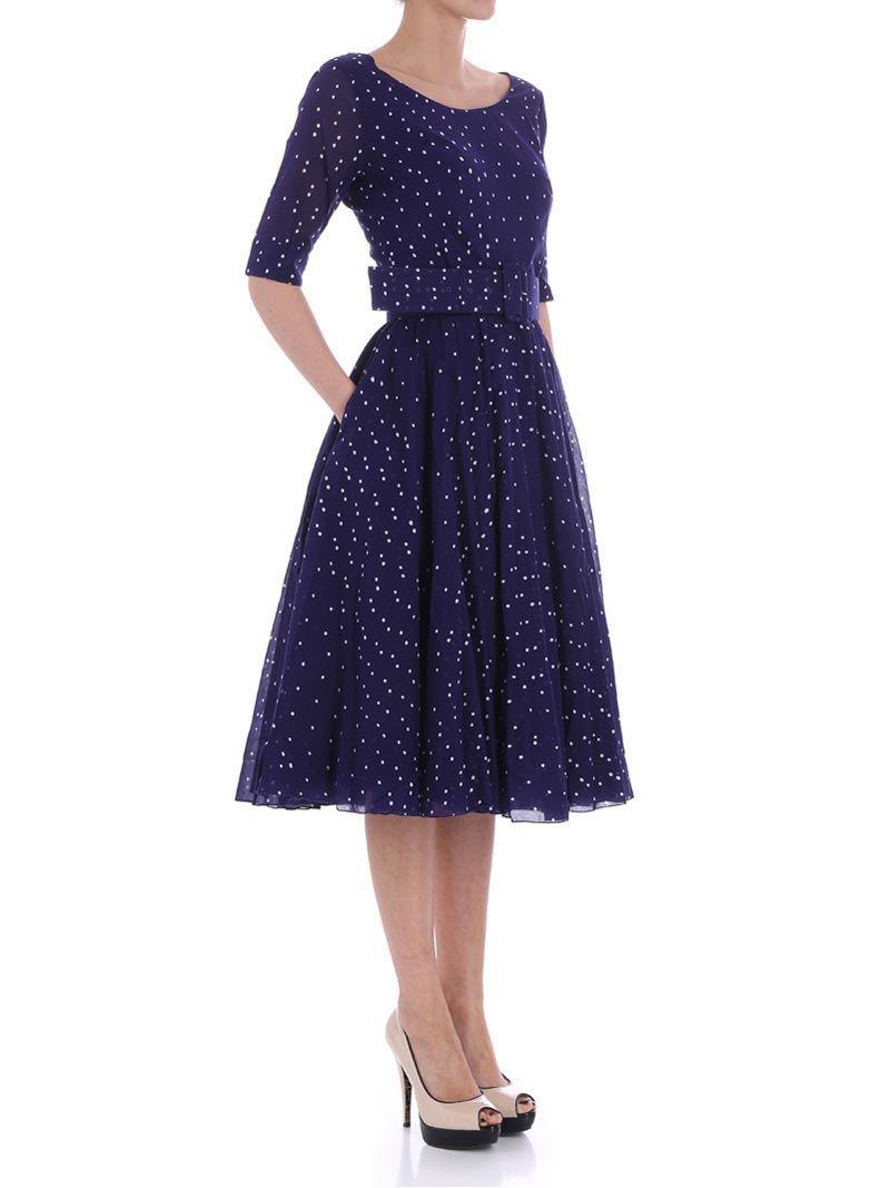 Blue dress with white polka dots Samantha Sung Krpvj