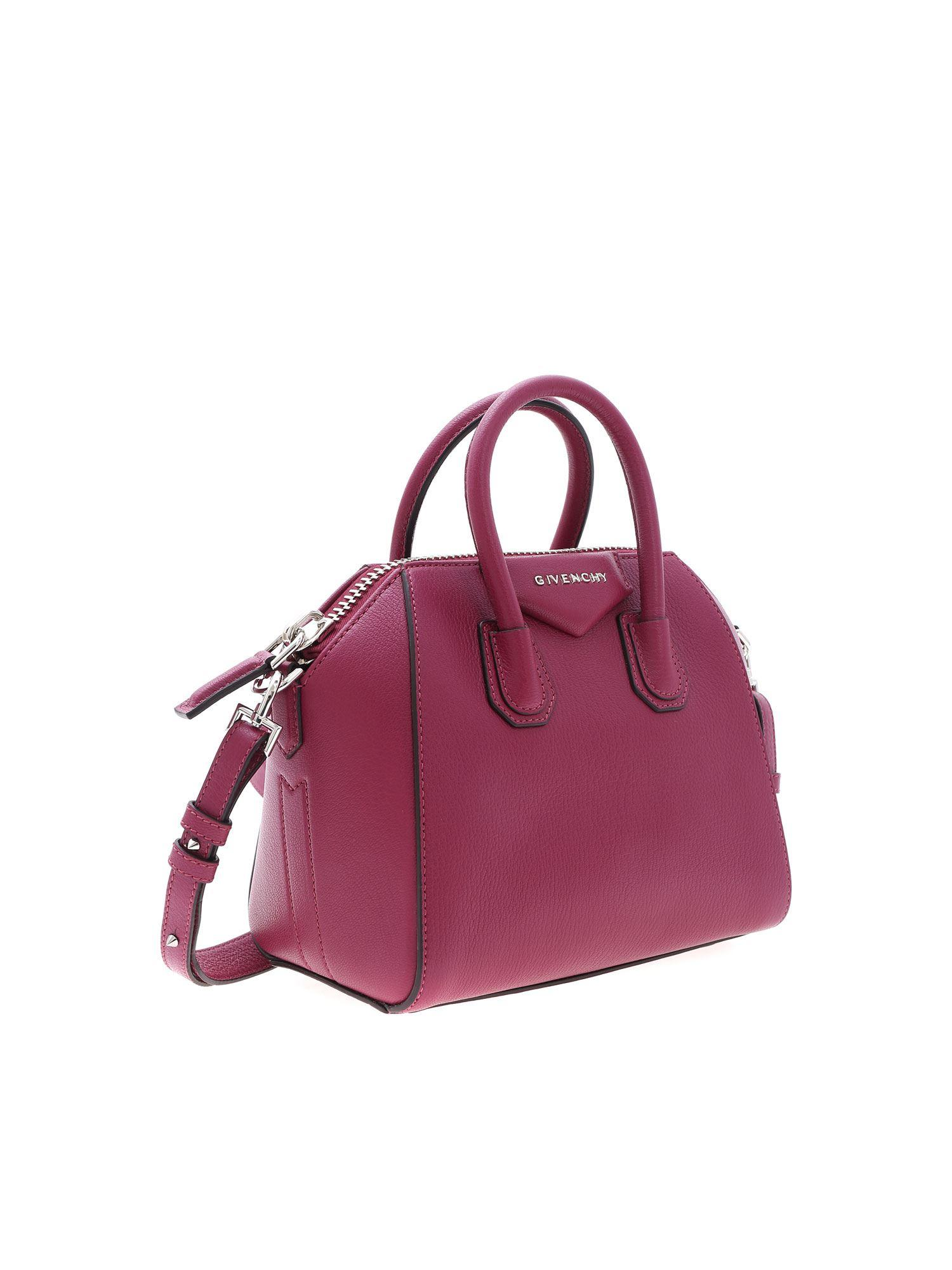 b154741cfe Givenchy Antigona Mini Bag In Wine-colored Leather in Purple - Lyst