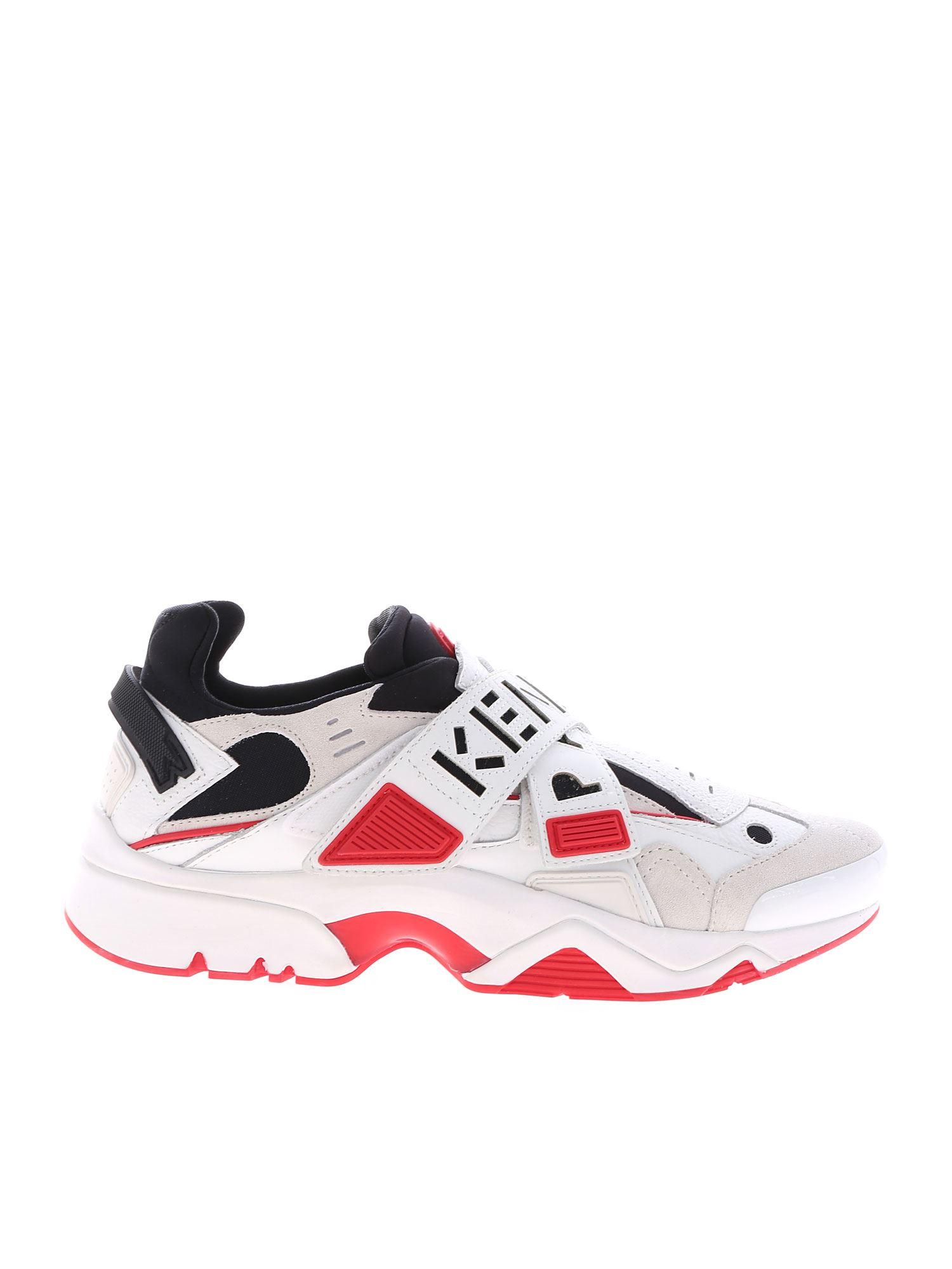 Kenzo Sonic Velcro Sneakers In White And Red In White For