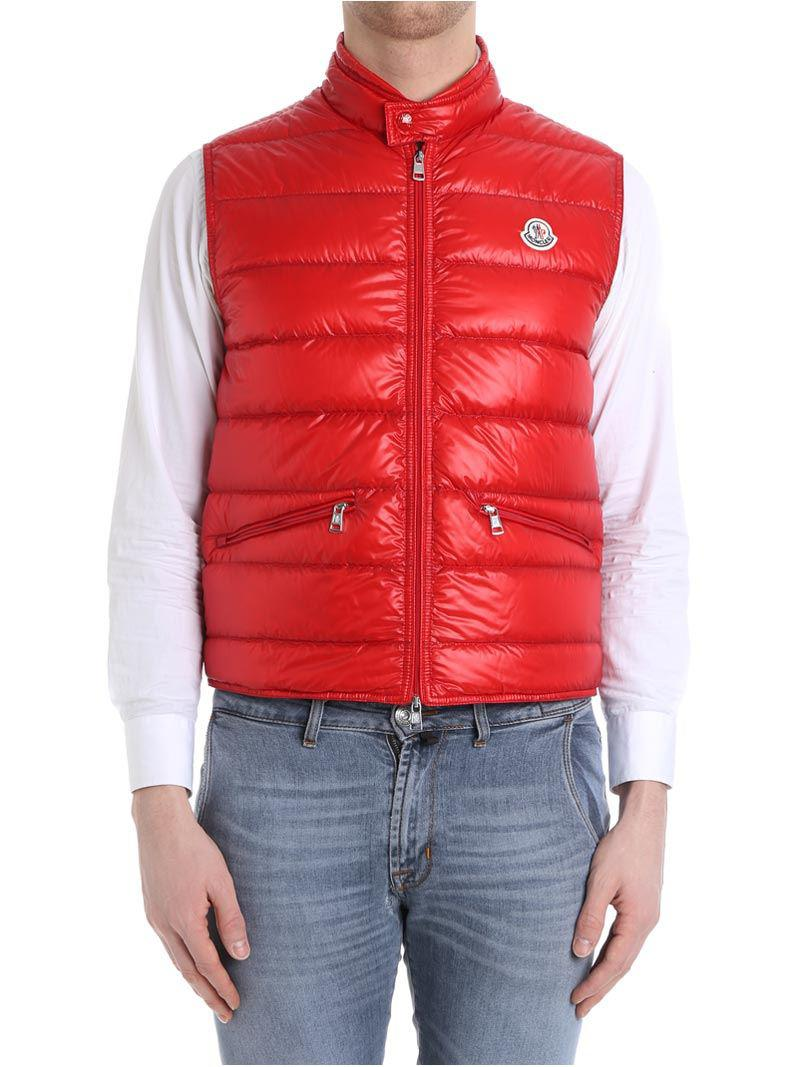Red Gui down jacket with logo detail Moncler Really 1Jlww