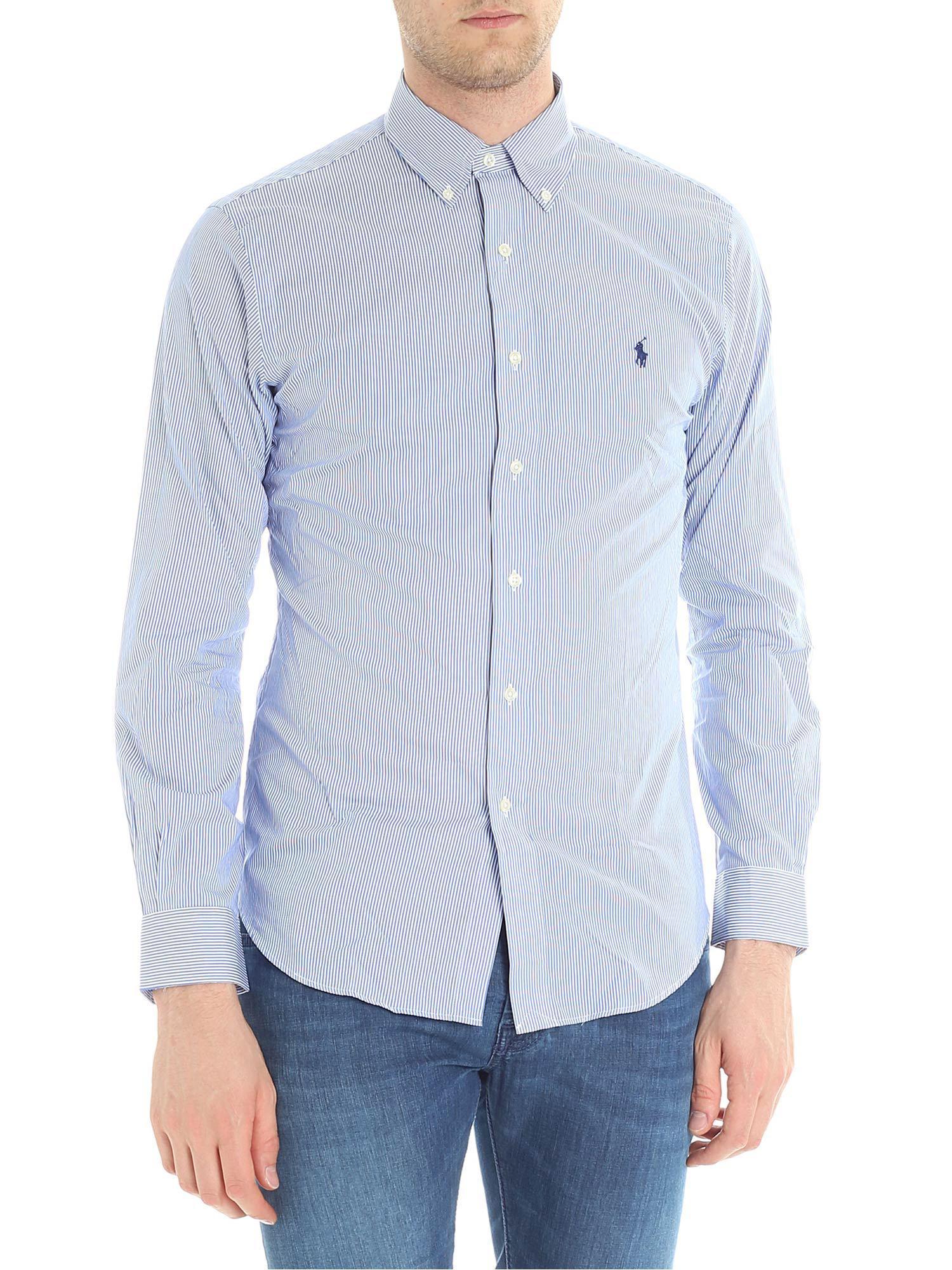 646e8fd3b6667 Ralph Lauren Light Blue And White Striped Shirt in Blue for Men - Lyst